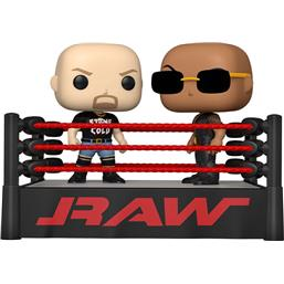 The Rock vs Stone Cold in Wrestling Ring POP Moment! Vinyl Figursæt 2-Pak