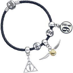 Deathly Hallows/Snitch/Platform 9 3/4/2 Spellbeads Leather Bracelet Charm Set