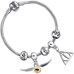 Deathly Hallows/Snitch/3 Spell Beads Bracelet Charm Set (sølv belagt)