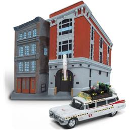 Ghostbusters Diecast Model 1/64 1959 Cadillac Ecto-1 & Firehouse Diorama Set