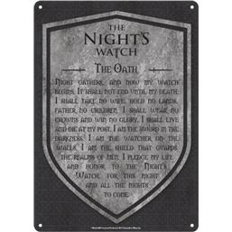 Game Of Thrones: Game of Thrones Tin Sign Nights Watch 21 x 15 cm
