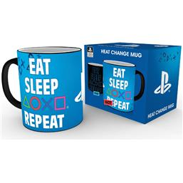 Sony Playstation: PlayStation Heat Change Mug Eat Sleep Repeat