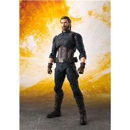 Avengers: Avengers Infinity War S.H. Figuarts Action Figure Captain America & Tamashii Effect Explosion 16 cm