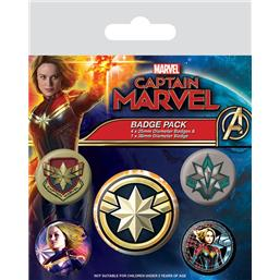Captain Marvel Badges 5-Pak