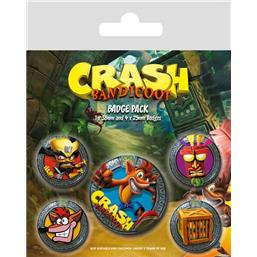Crash Bandicoot: Crash Bandicoot Badges 5-Pak