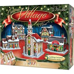 Byer og Bygninger: Wrebbit Panel Collection 3D Puzzle Christmas Village