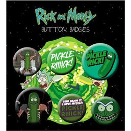 Pickle Rick Pin Badges 6-Pak