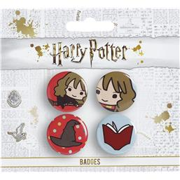 Hermione & Sorting Hat & Book Cutie Button Badge 4-Pack