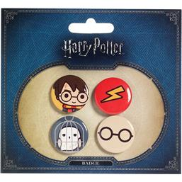 Harry Potter: Harry Potter & Hedwig Cutie Badgets 4-Pak