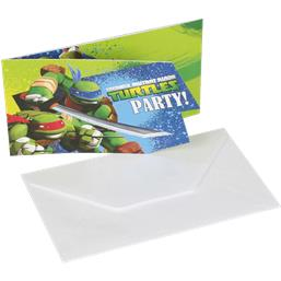 Ninja Turtles invitationer 6 styk