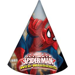 Spiderman partyhatte 6 styk