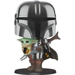 Star Wars: Star Wars The Mandalorian holding The Child Super Sized POP! Vinyl Figur 25 cm