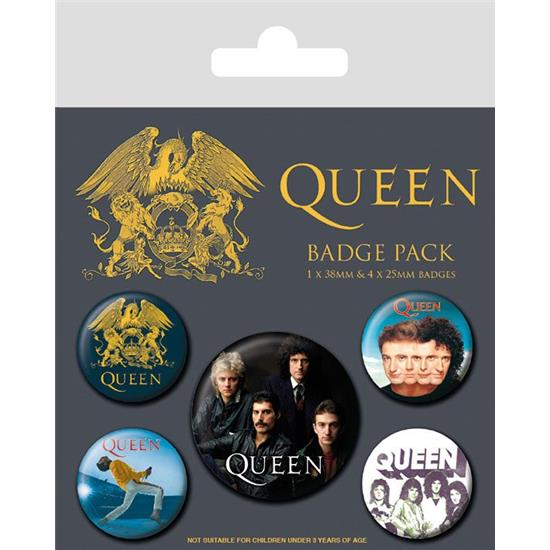 Queen: Queen Pin Badges 5-Pack Classic